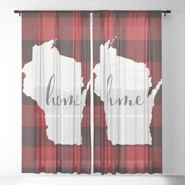Wisconsin is Home - Buffalo Check Plaid Sheer Curtain