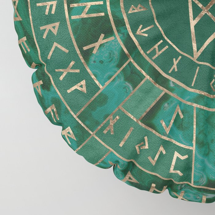 Web of Wyrd - Malachite, Leather and Golden texture Floor Pillow