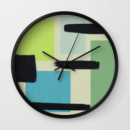 Four Rectangle Friends - Green and Blue Wall Clock