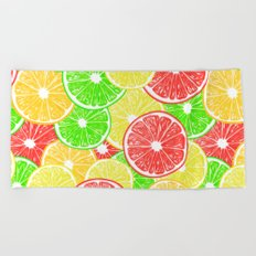 Lemon, orange, grapefruit and lime slices pattern design Beach Towel