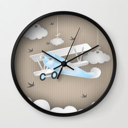 Blue Plane Ride Wall Clock