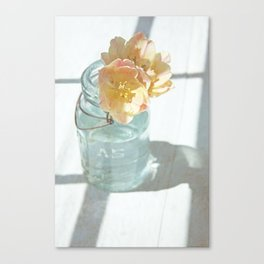 Pink and Yellow Tulips in Vintage Blue Jar Canvas Print