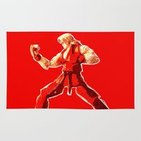 street fighter Area & Throw Rugs featuring Street Fighter II - Ken by Carlo Spaziani