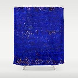 V11 Calm Blue Printed of Original Traditional Moroccan Carpet Shower Curtain