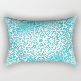 Blue Sky Mandala in Turquoise Blue and White Rectangular Pillow