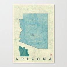 Arizona State Map Blue Vintage Canvas Print