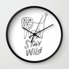 Stay wild. Cute design with funny lion. Monochrome line art. Coloring page. Wall Clock