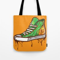 sneaker Tote Bags featuring Green Sneaker by ArievSoeharto
