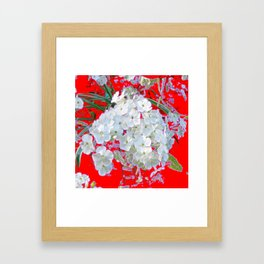DELICATE RED & WHITE LACE FLORAL Framed Art Print