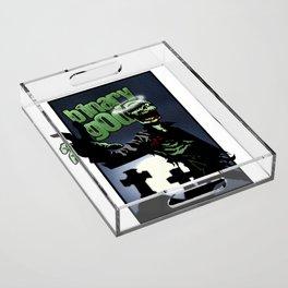 binarygod Zombie poster Acrylic Tray