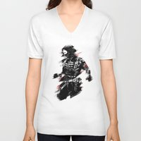 winter soldier V-neck T-shirts featuring The Winter Soldier by Ashqtara