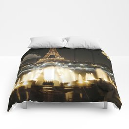 Eiffel Tower at Night Comforters