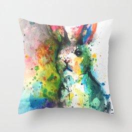 Bunny Splash Throw Pillow