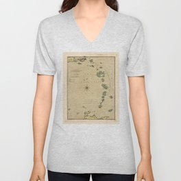 Lesser Antilles Map (1789) Unisex V-Neck