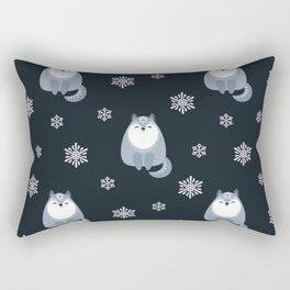 Winter Fox And Snowflakes Rectangular Pillow