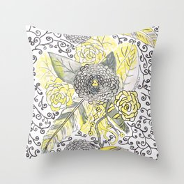 yellow and gray feathers Throw Pillow