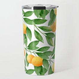 Watercolor Tangerines Pattern Travel Mug