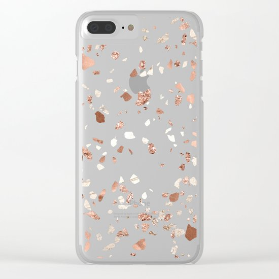 Rose Gold and Cream Terrazzo Clear iPhone Case
