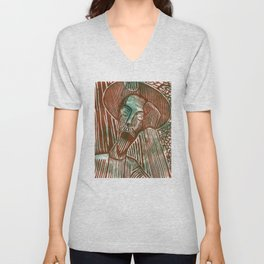Don Quixote in Green and Rust Unisex V-Neck