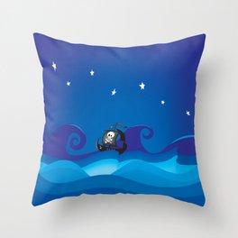 pirate ship at the sea Throw Pillow