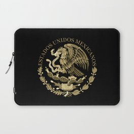 Mexican flag seal in sepia tones on black bg Laptop Sleeve