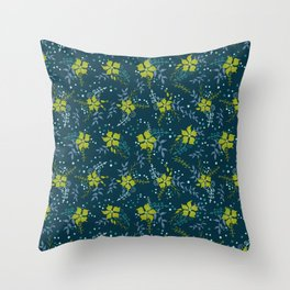 Bouquet of Flowers with Dots, Rings and Spirals Throw Pillow