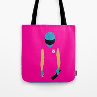 hotline miami Tote Bags featuring Hotline Miami: Biker by Hazakael