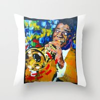 louis armstrong Throw Pillows featuring Louis Armstrong by Phil Fung