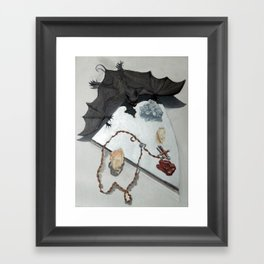 Bat with Rosary and Crystals Framed Art Print