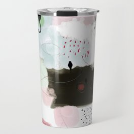 Peinture tons pastels chat oiseau bulles abstrait moderne Travel Mug