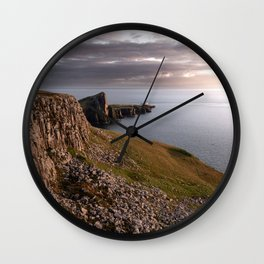 The Neist Point Lighthouse - cliffs, nature, landscape, sunset, beacon, scotland, isle of skye Wall Clock