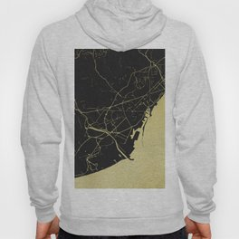 Barcelona Black and Gold Map Hoody