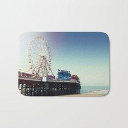 Ferris wheel on Blackpool Pier, hot summer morning. Bath Mat