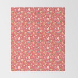Colorful bunnies on salmon/pink Throw Blanket