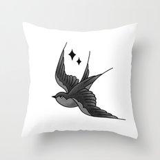 Swallow Flash - mono Throw Pillow