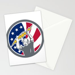 American Electrician USA Flag Icon Stationery Cards