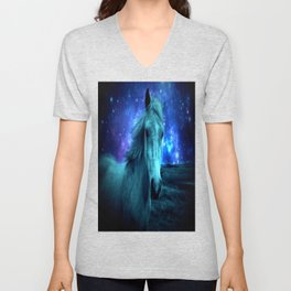 Teal Horse Blue Violet Galaxy Skies Unisex V-Neck