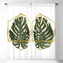 Monstera Leaf Pattern - Tropical Leaf Pattern - Green - Gold Geometric Shape - Modern, Minimal Blackout Curtain