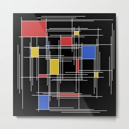 Mondrian Scratch Art 2 Metal Print