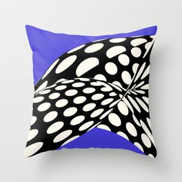 Wavy Dots on Blue Throw Pillow