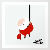 Hanging Santa Art Print