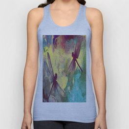 Painting Orchids and Dragonflies Unisex Tank Top