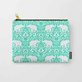 Elephant Damask Mint Carry-All Pouch