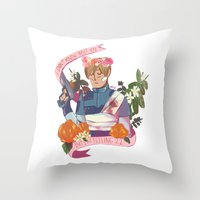"""resident evil Throw Pillows featuring Resident Evil 2 Print - """"22 - Leon"""" by MIU/Manzo"""