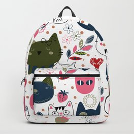 Pattern with Hand Drawn Doodle Cats Backpack