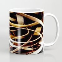 bands Mugs featuring Rubber Bands by Carsick T-Rex