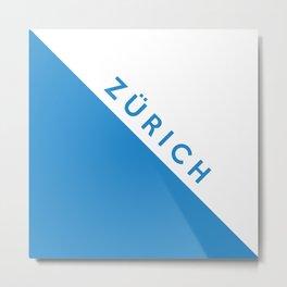 Zurich region switzerland country flag name text swiss Metal Print