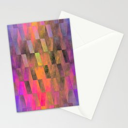 Stacked Sky (magenta-coral-ochre) Stationery Cards