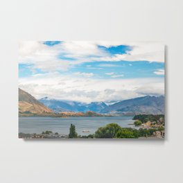 Cloudy summer day at Wanaka, New Zealand Metal Print