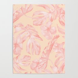 Tropical Dream Palm Leaves Pink and Coral Peach Poster